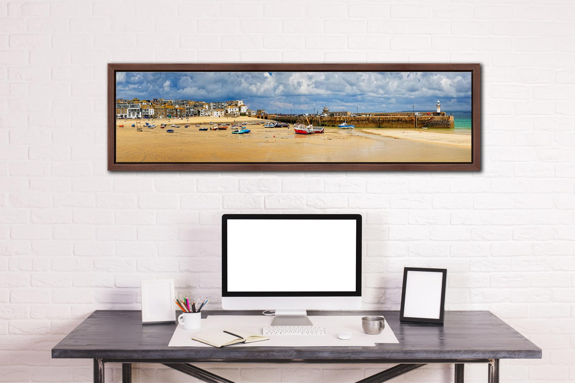 St Ives Cloudy Panorama - Walnut floater frame with acrylic glazing on Wall
