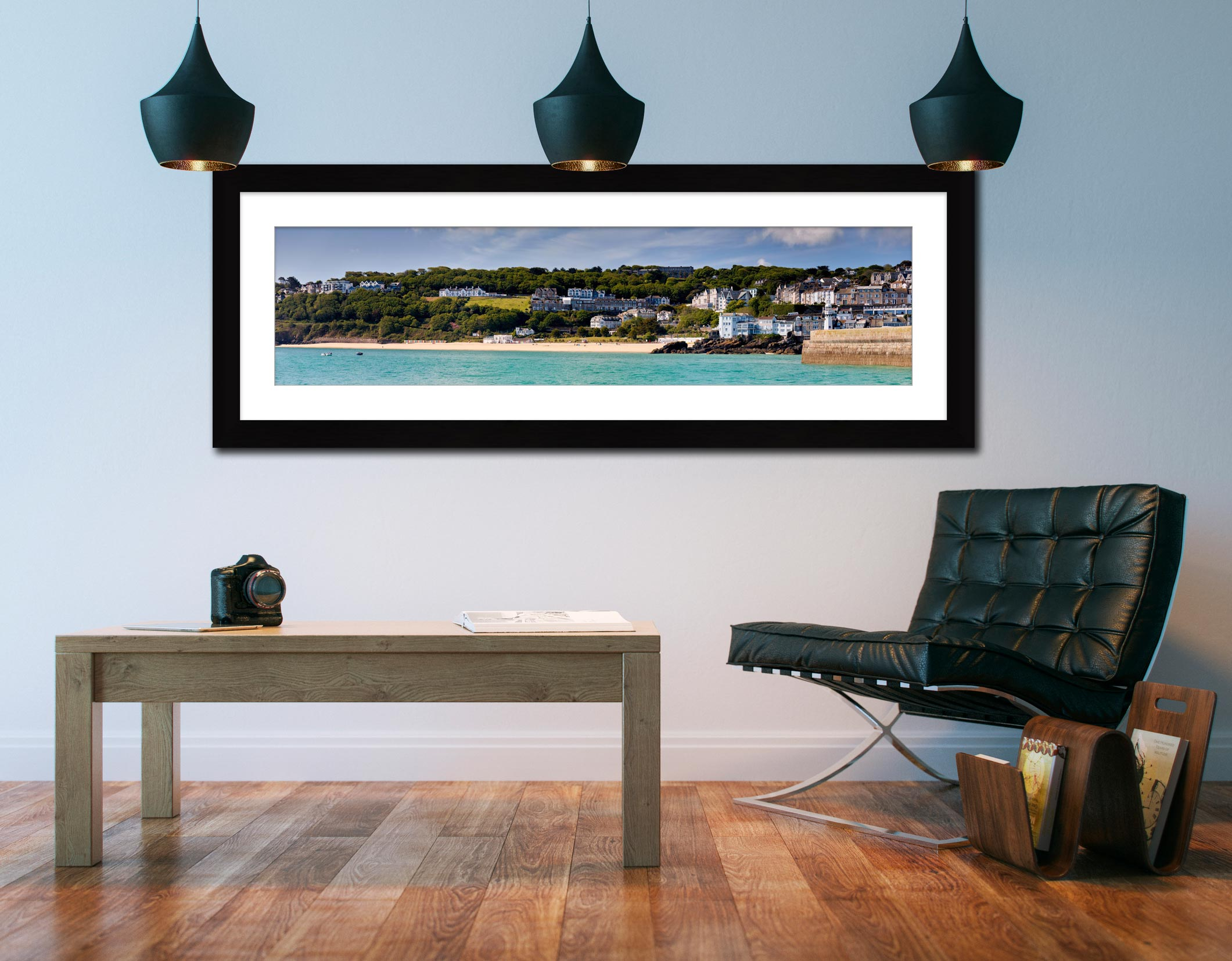 Porthminster Beach Panorama - Framed Print with Mount on Wall