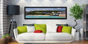Porthminster Beach Panorama - Black oak floater frame with acrylic glazing on Wall