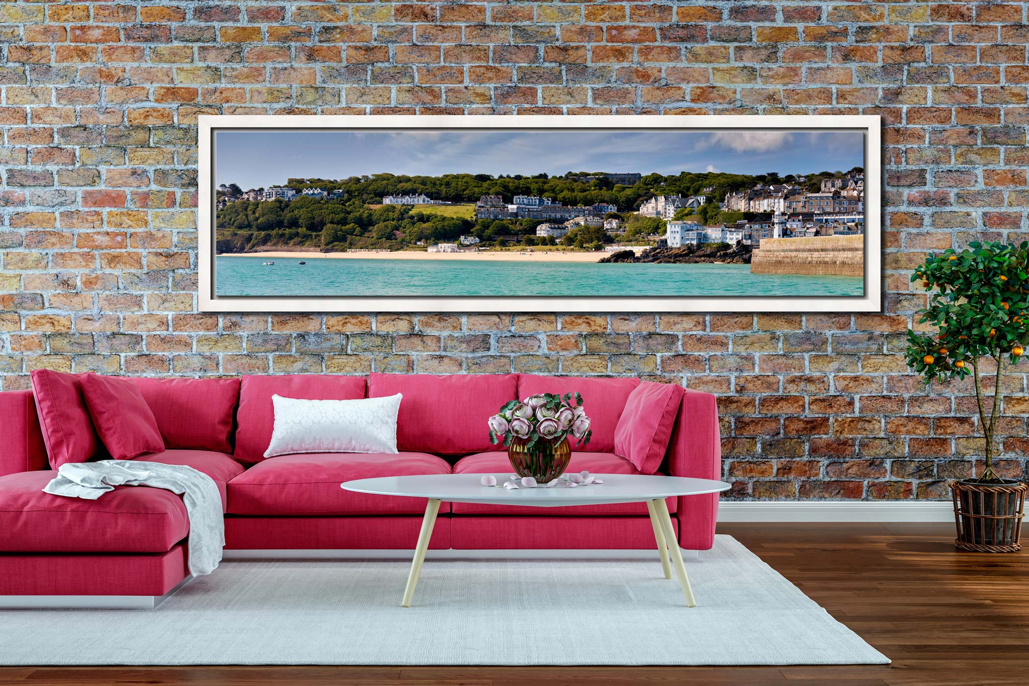 Porthminster Beach Panorama - White Maple floater frame with acrylic glazing on Wall
