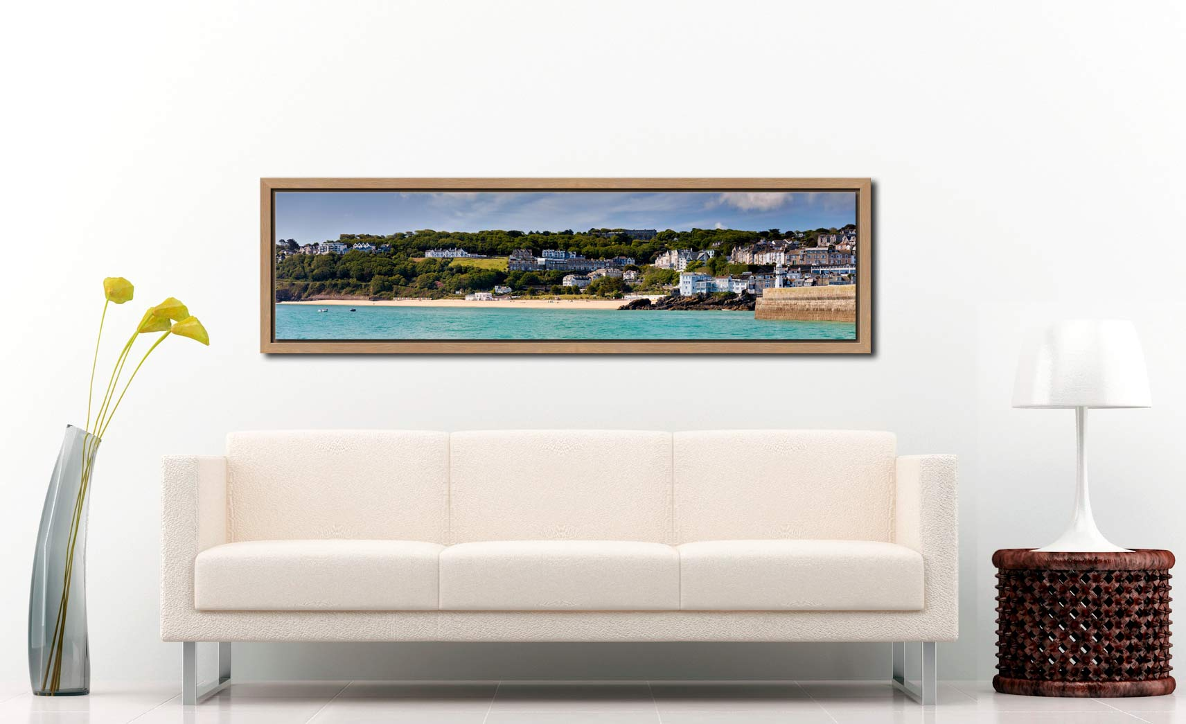 Porthminster Beach Panorama - Oak floater frame with acrylic glazing on Wall