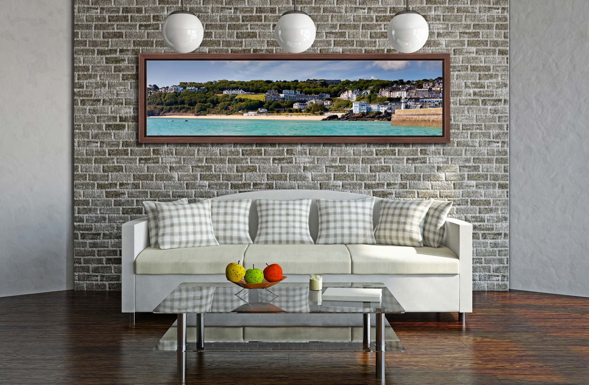 Porthminster Beach Panorama - Walnut floater frame with acrylic glazing on Wall