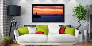 St Ives Beach Rocks - Black oak floater frame with acrylic glazing on Wall