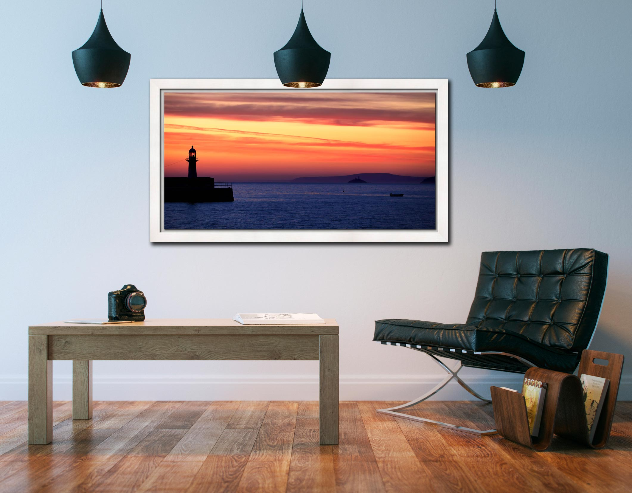St Ives Beach Rocks - White Maple floater frame with acrylic glazing on Wall