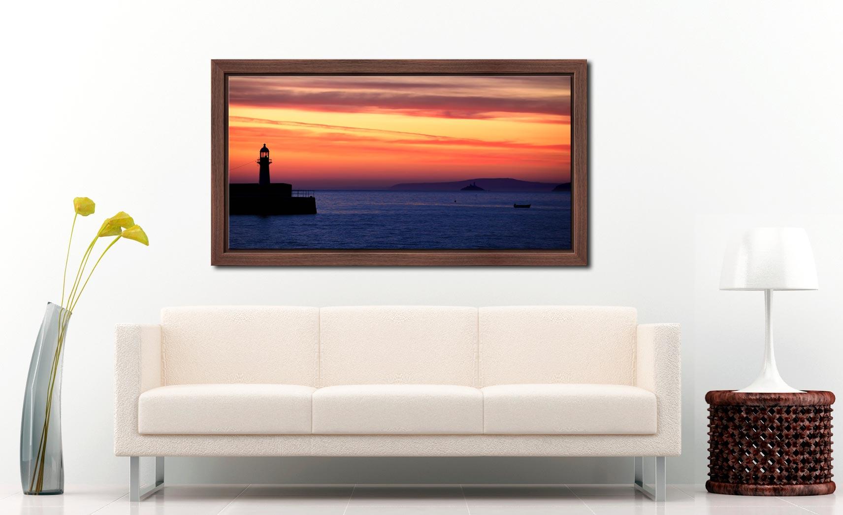 St Ives Beach Rocks - Walnut floater frame with acrylic glazing on Wall