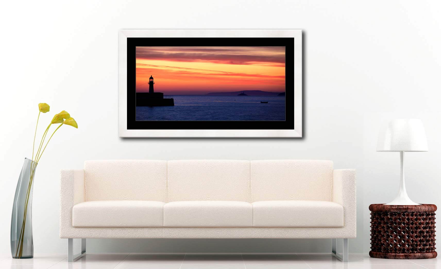 Dawn Harbour St Ives Lighthouse - Framed Print with Mount on Wall