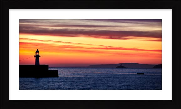 Dawn Harbour St Ives Lighthouse - Framed Print with Mount