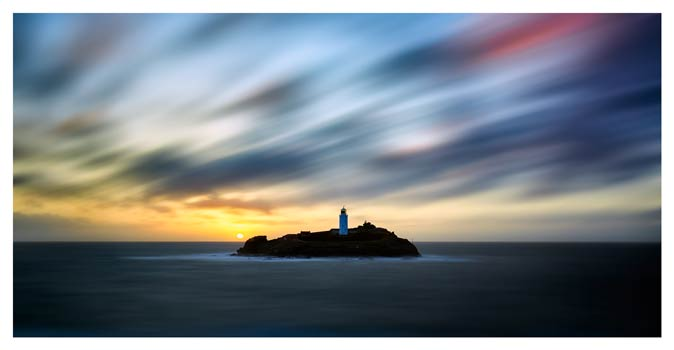 Windswept Sunset Godrevy Lighthouse - Cornwall Print