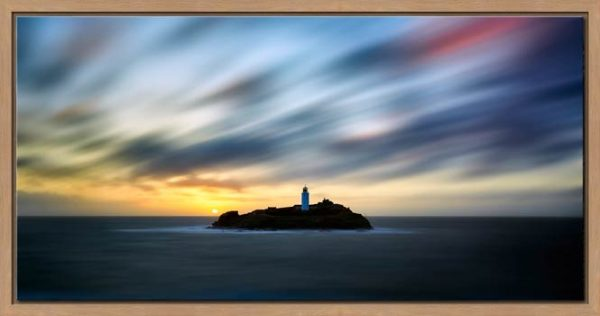 Windswept Sunset Godrevy Lighthouse - Modern Print