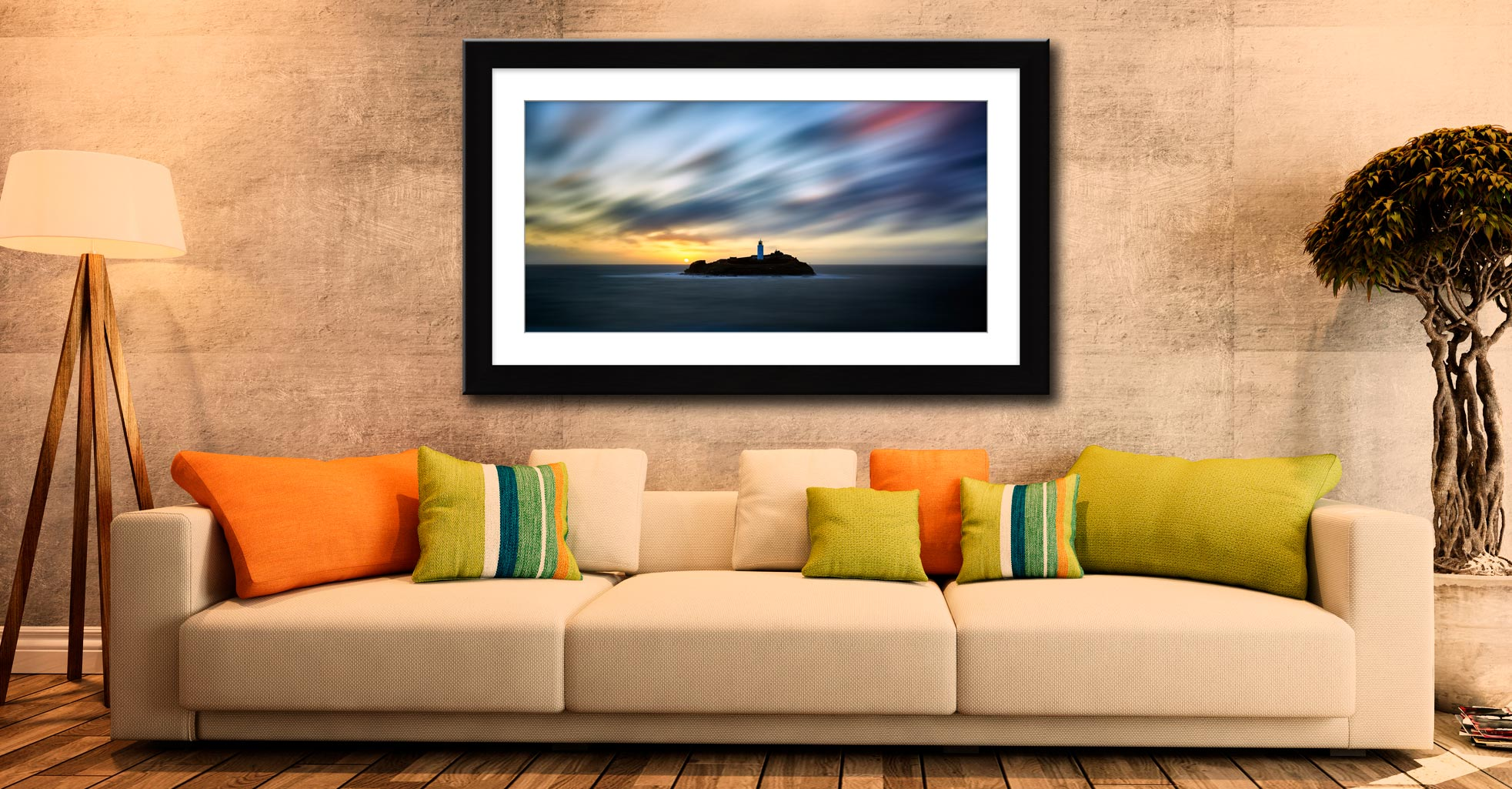 Windswept Sunset Godrevy Lighthouse - Framed Print with Mount on Wall