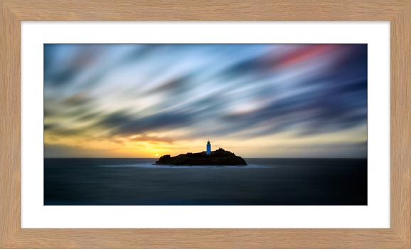 Windswept Sunset Godrevy Lighthouse - Framed Print with Mount