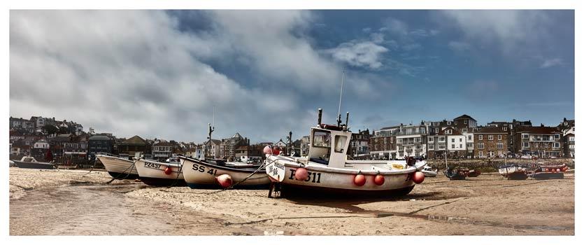White Boats St Ives – Cornwall Canvas - Cornwall Print