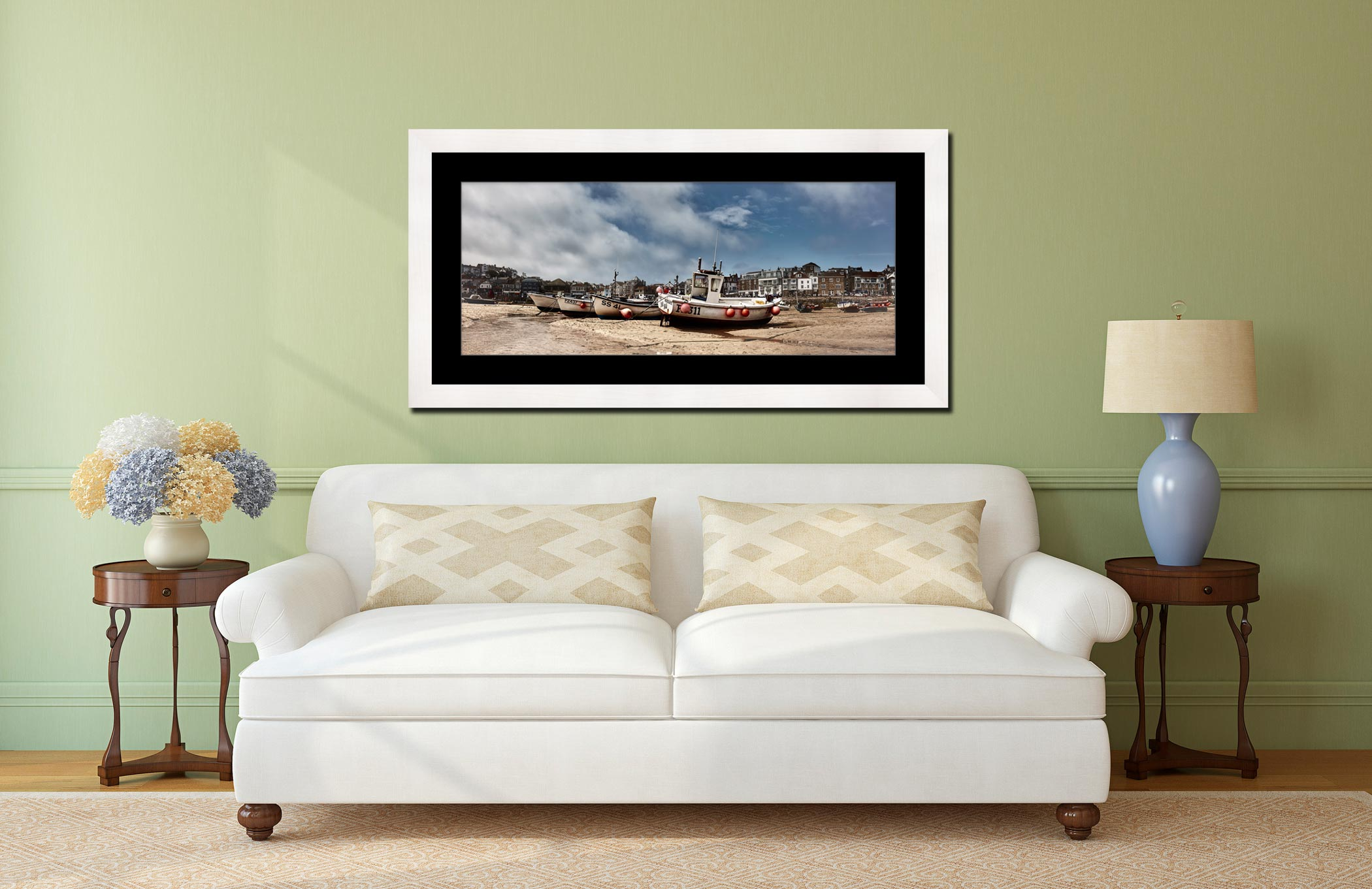 White Boats St Ives - Framed Print with Mount on Wall