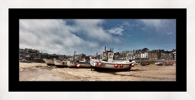 White Boats St Ives - Framed Print with Mount