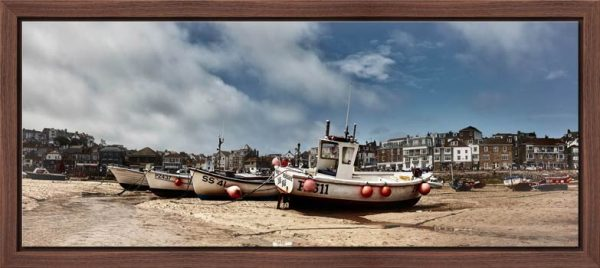 St Ives fishing boats waiting for the returning tide