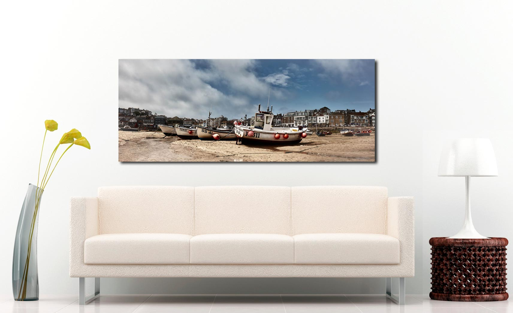 St Ives fishing boats waiting for the returning tide - Print Aluminium Backing With Acrylic Glazing on Wall