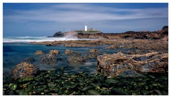 Godrevy Point Lighthouse and Rocks - Cornwall Print