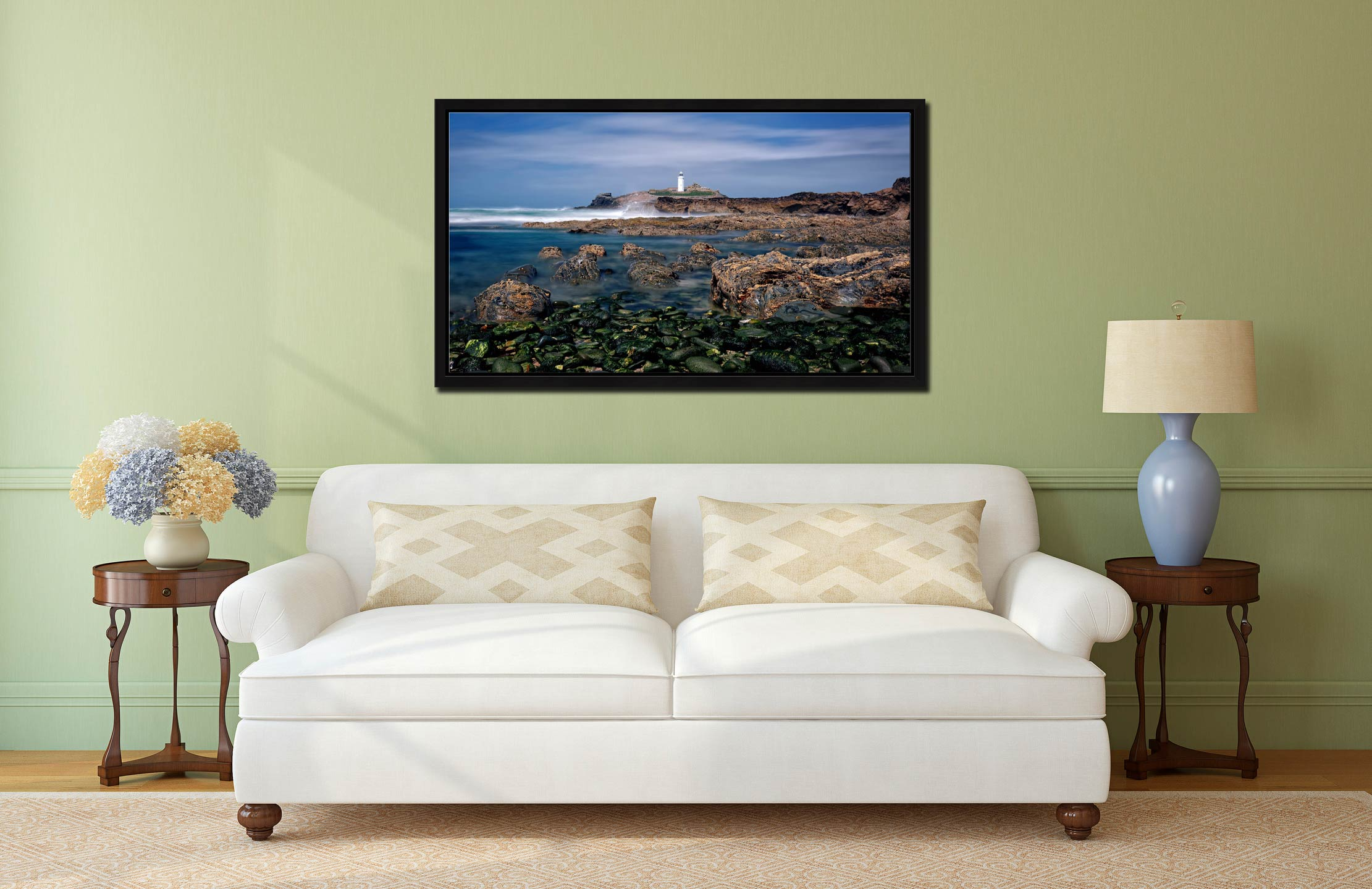 Godrevy Point Lighthouse and Rocks - Black oak floater frame with acrylic glazing on Wall