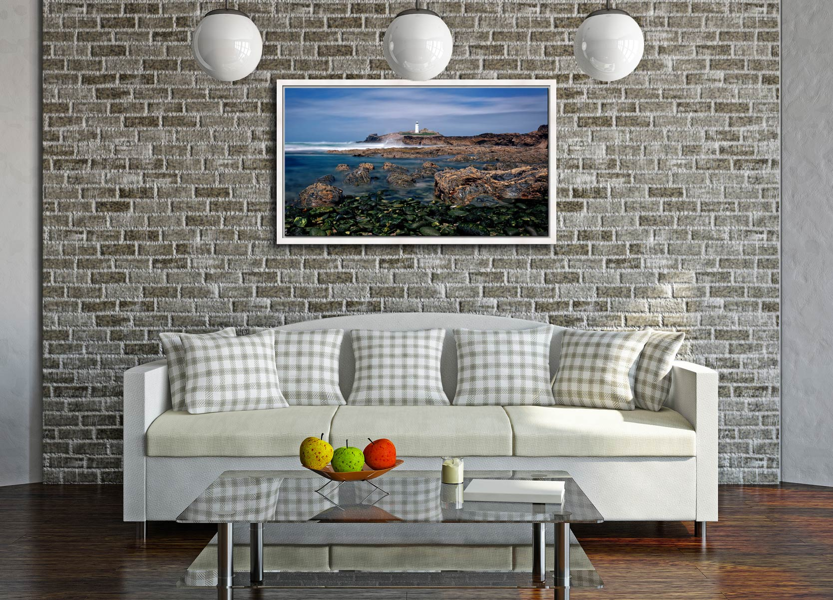 Godrevy Point Lighthouse and Rocks - White Maple floater frame with acrylic glazing on Wall