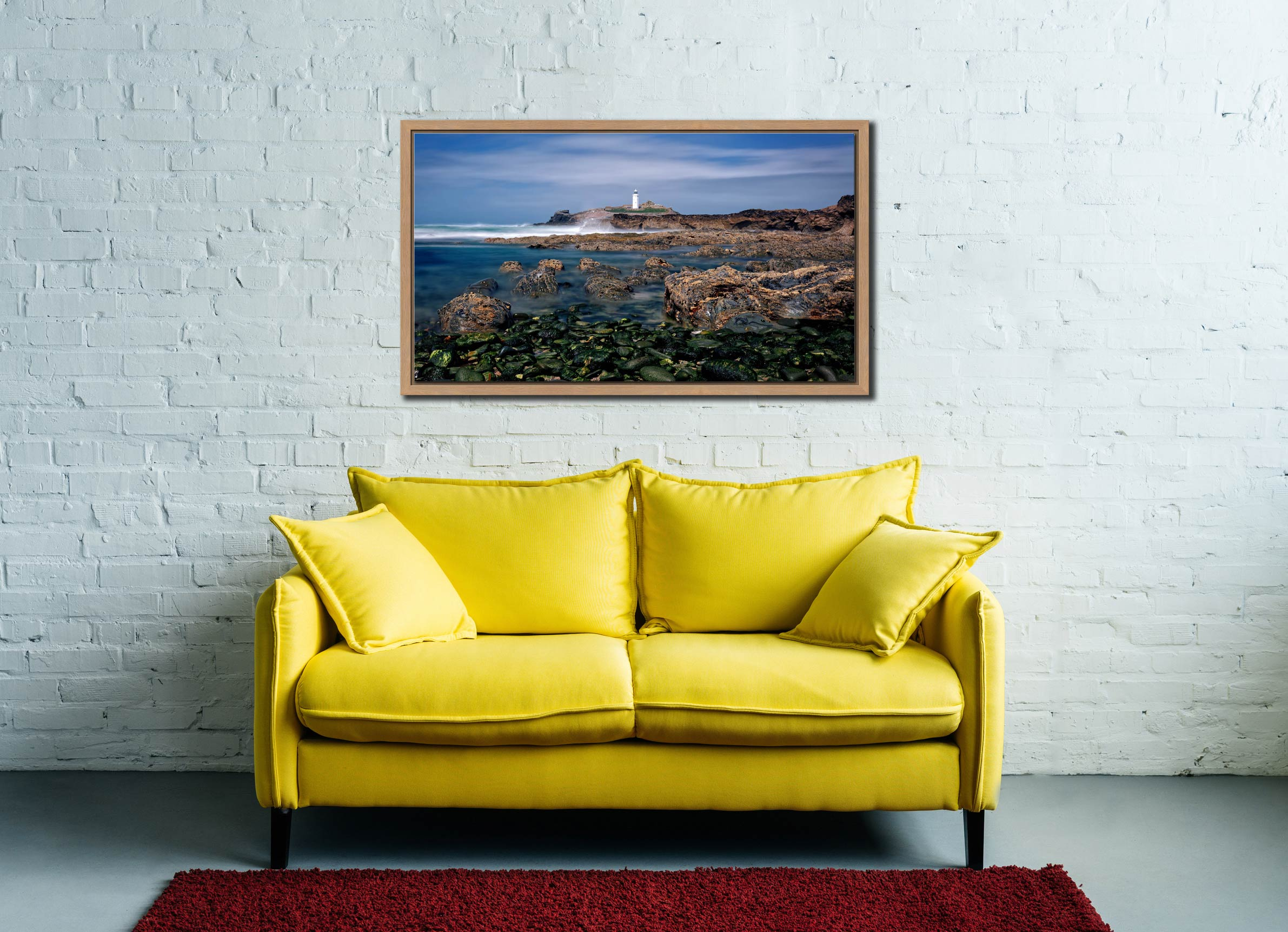 Godrevy Point Lighthouse and Rocks - Oak floater frame with acrylic glazing on Wall