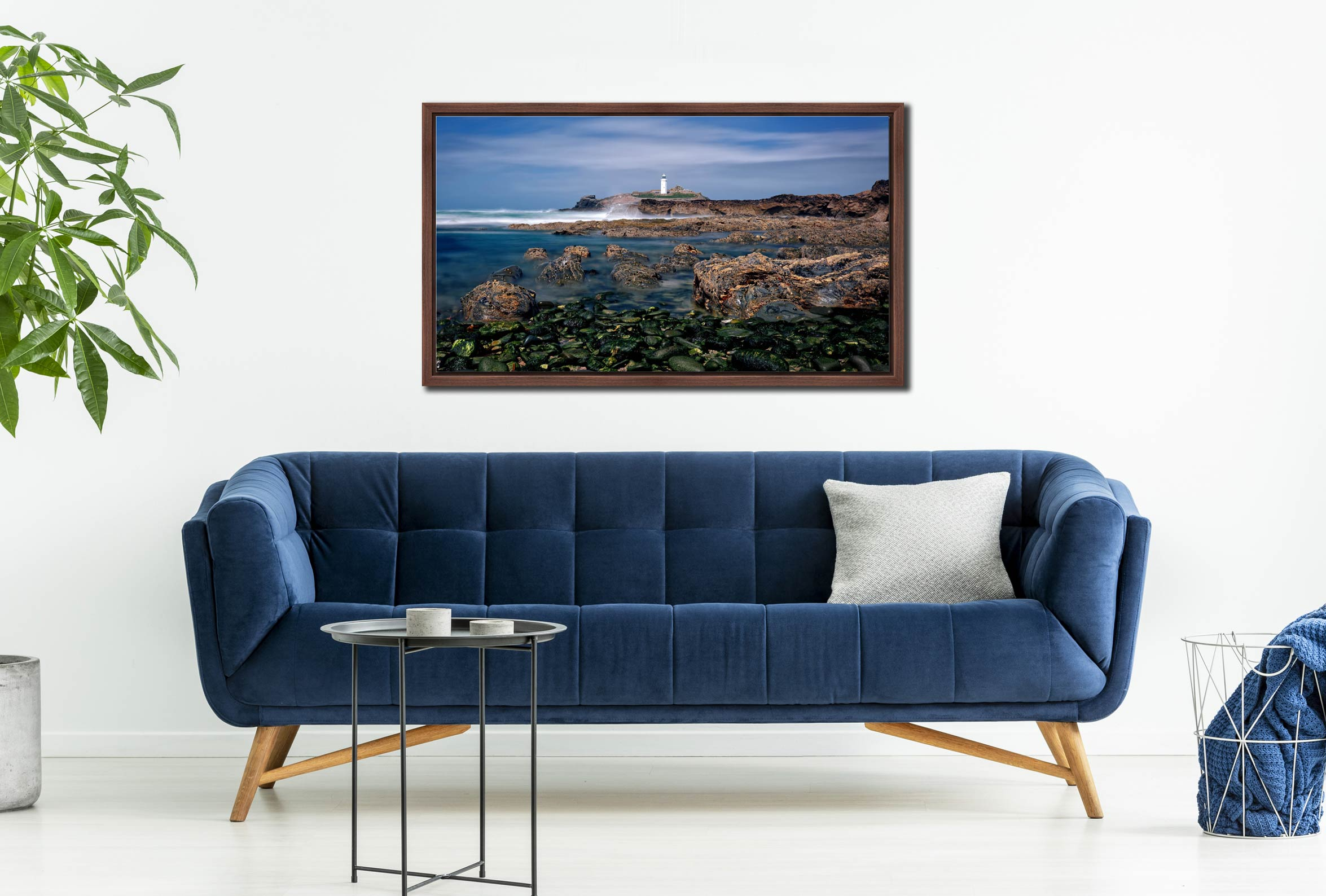 Godrevy Point Lighthouse and Rocks - Walnut floater frame with acrylic glazing on Wall