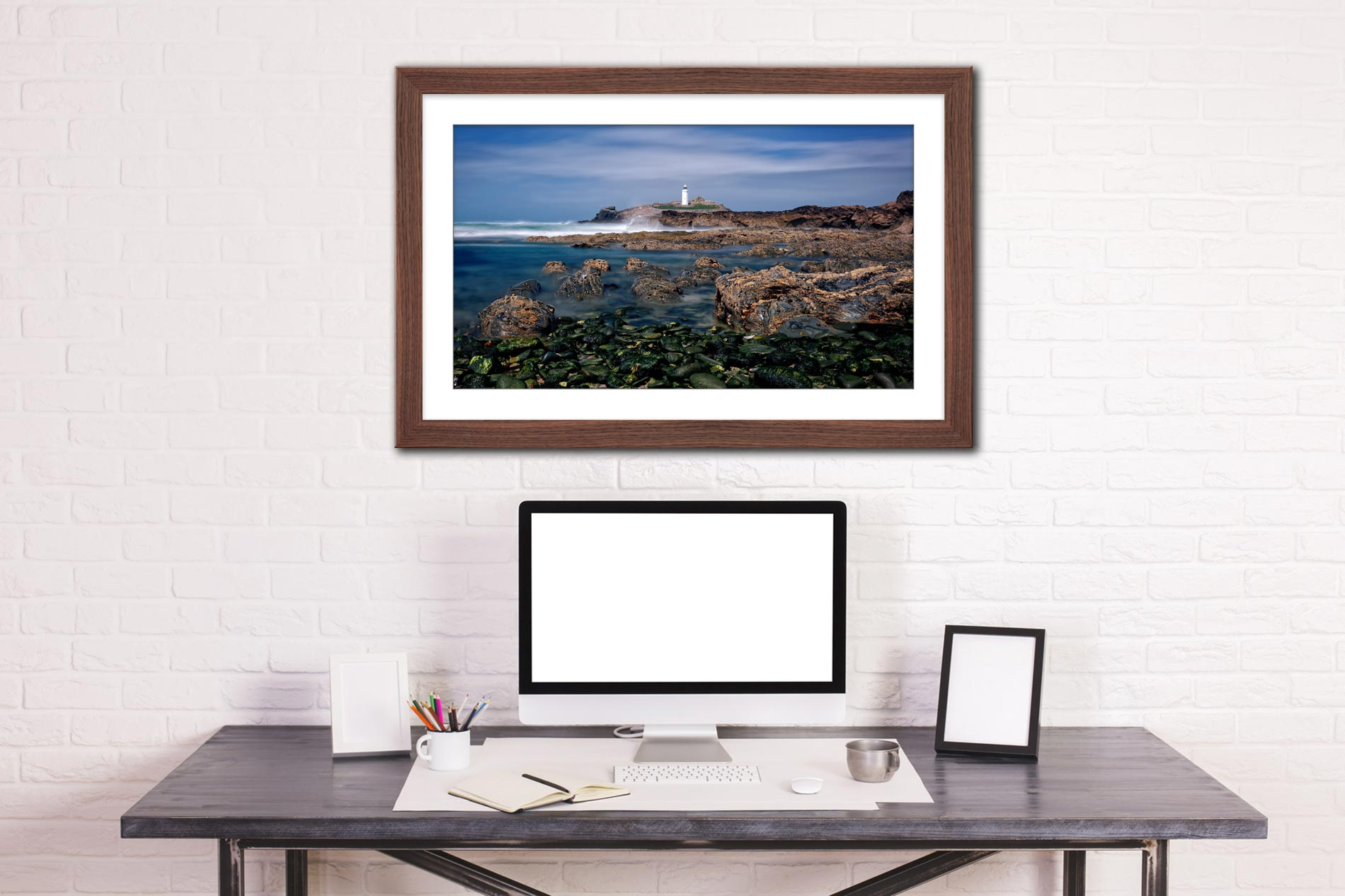Godrevy Point Lighthouse and Rocks - Framed Print with Mount on Wall