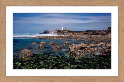 Godrevy Point Lighthouse and Rocks - Framed Print with Mount