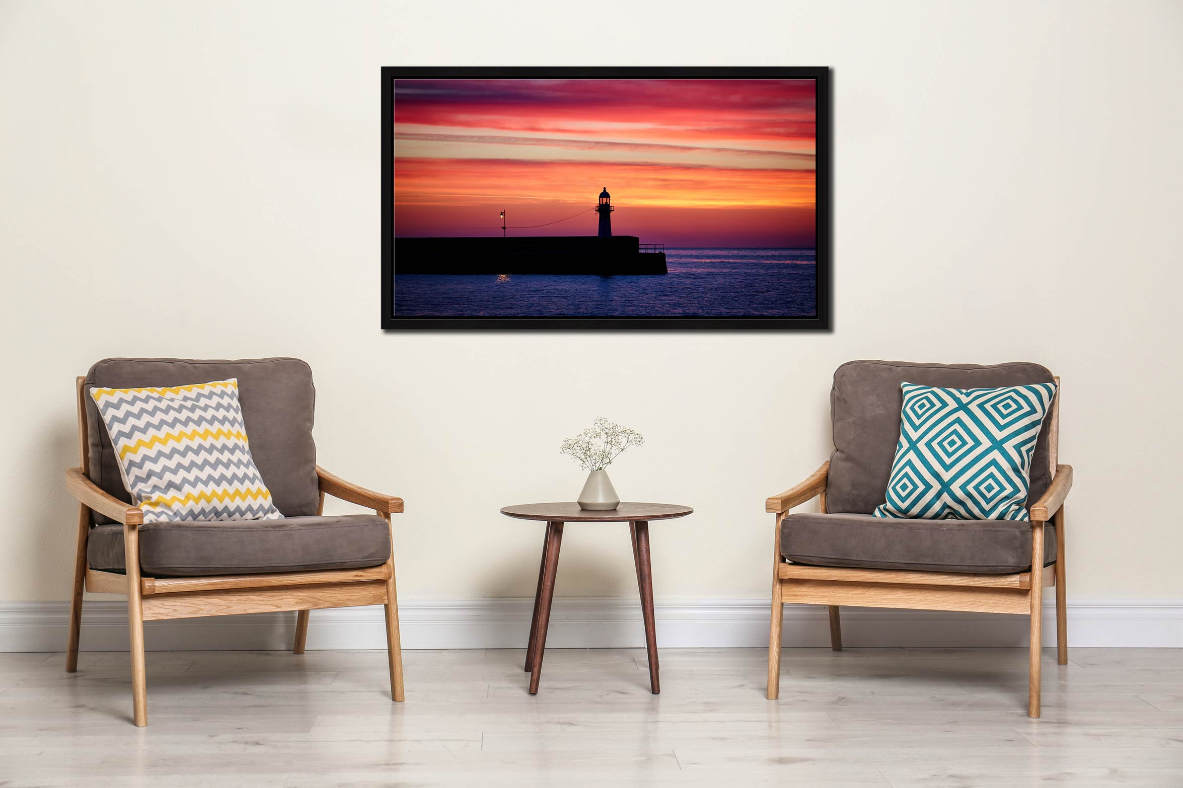 Lighthouse and the Lamp - Black oak floater frame with acrylic glazing on Wall