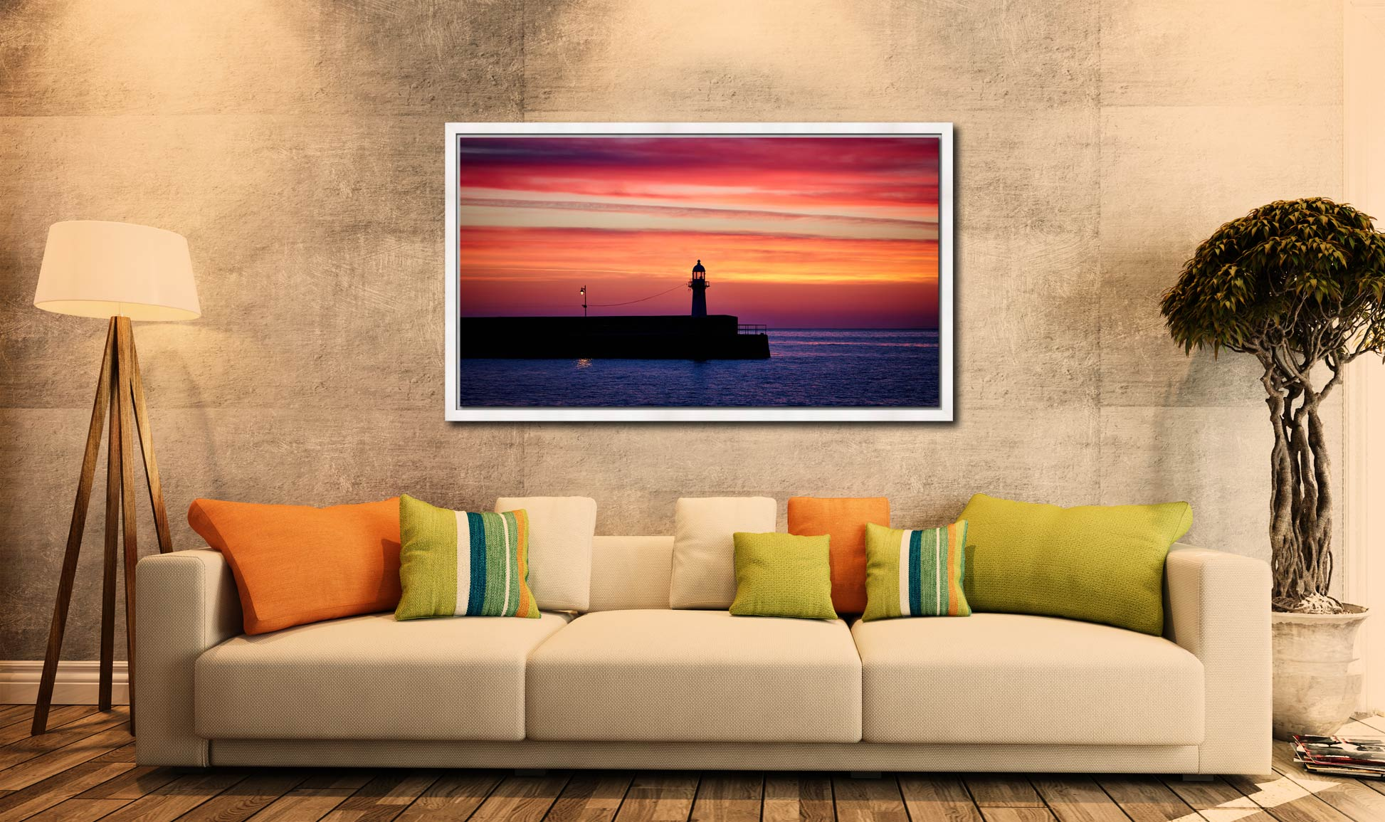 Lighthouse and the Lamp - White Maple floater frame with acrylic glazing on Wall