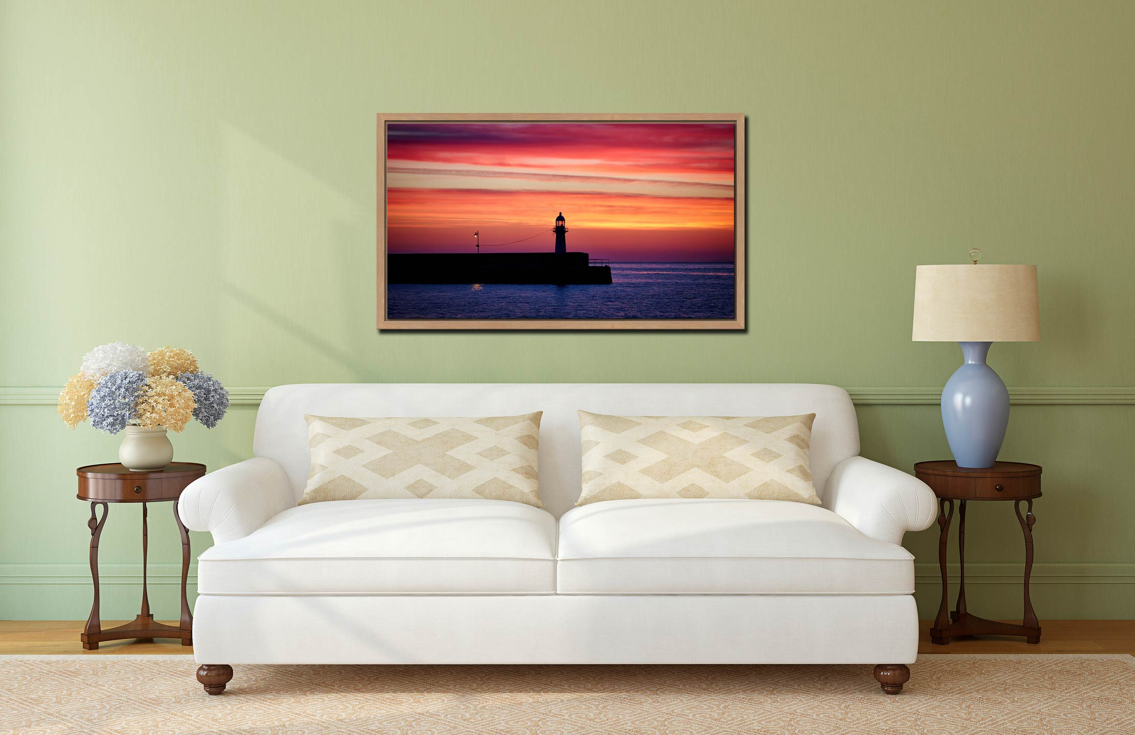Lighthouse and the Lamp - Oak floater frame with acrylic glazing on Wall
