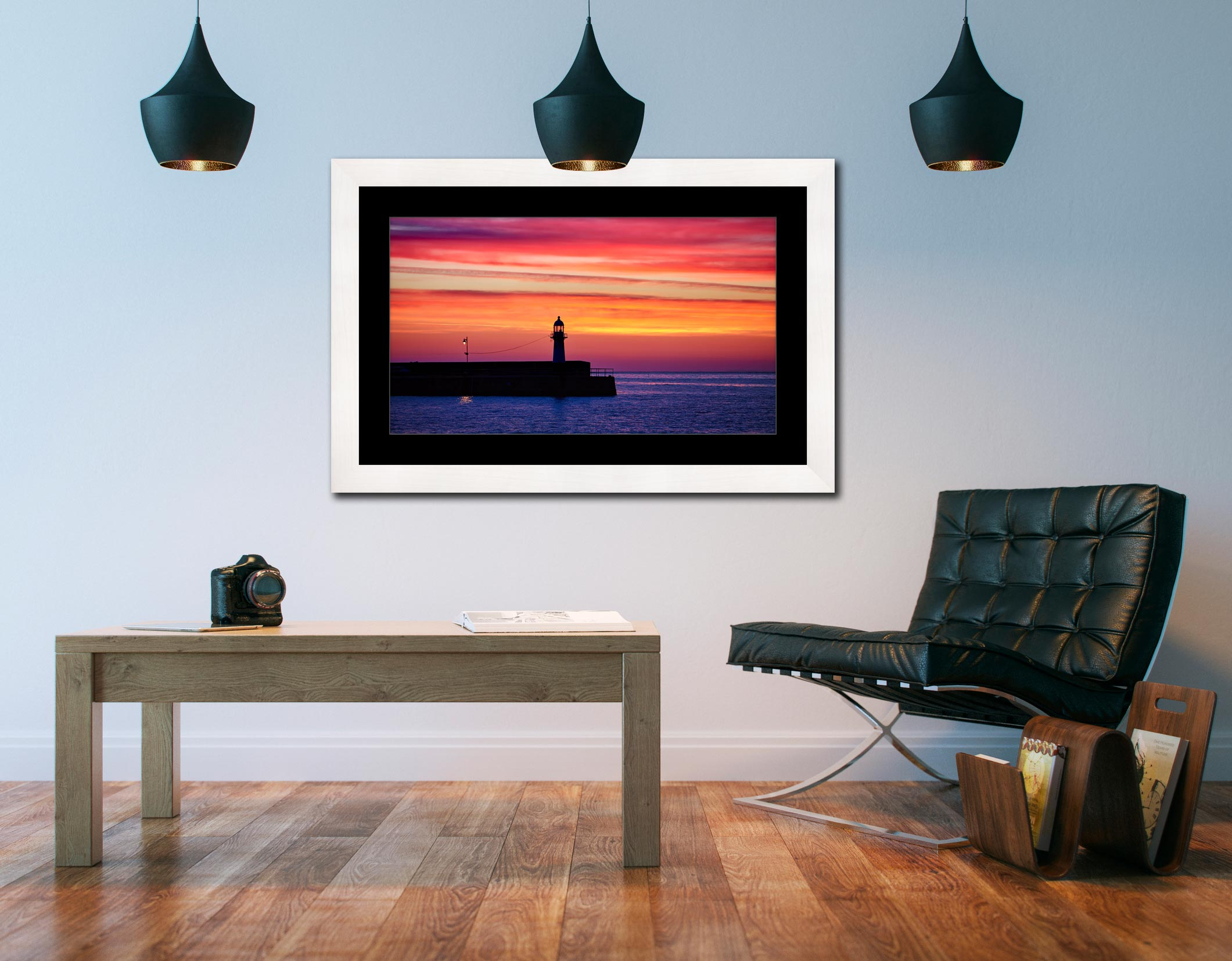 Lighthouse and the Lamp - Framed Print with Mount on Wall
