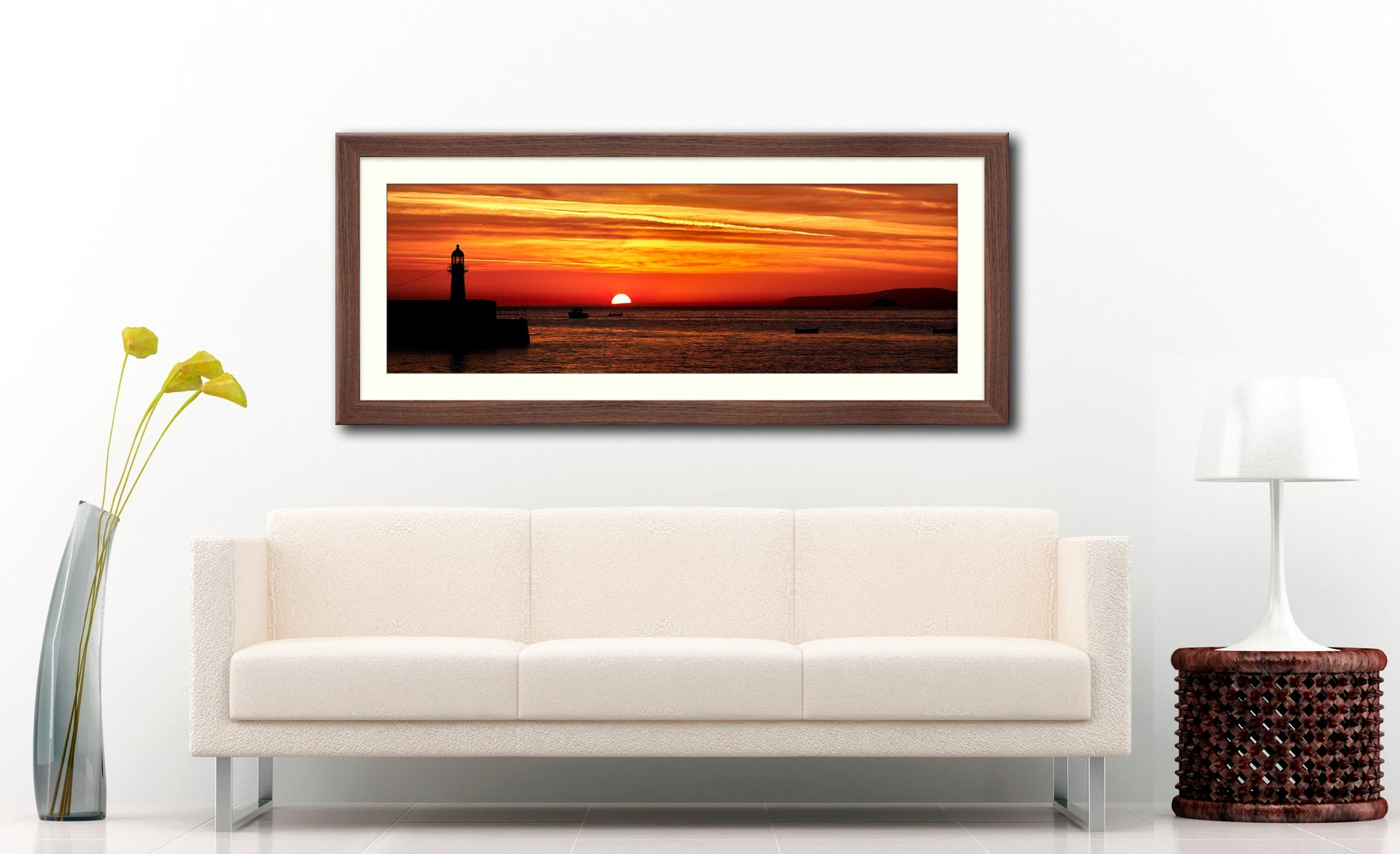 Dawn Breaking Over St Ives Bay - Framed Print with Mount on Wall