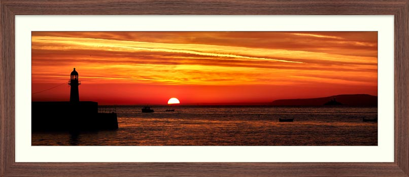 Dawn Breaking Over St Ives Bay - Framed Print with Mount