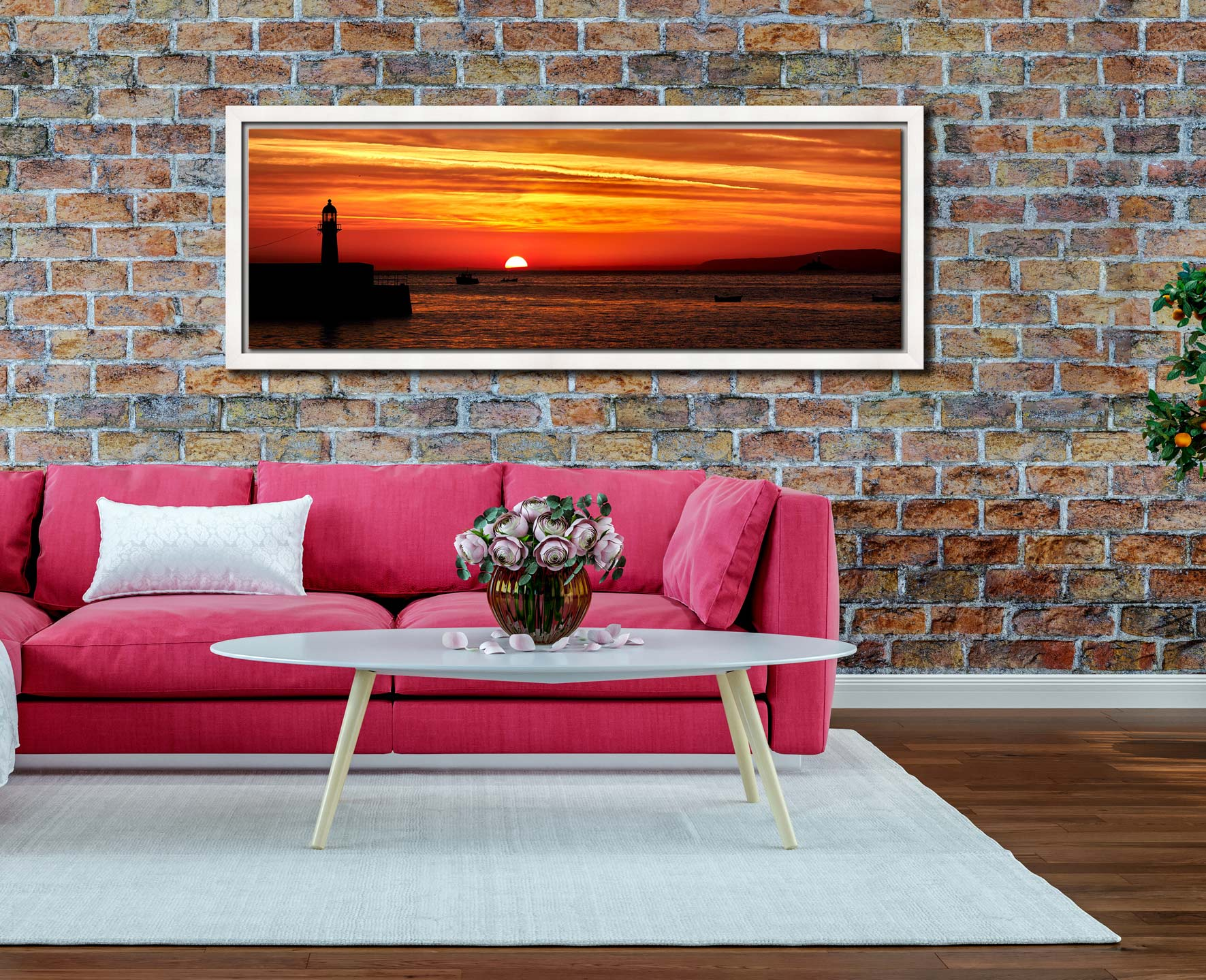 The peeking over the horizon in St Ives Bay in Cornwall. Golden skies above Smeaton's Pier and Godrevy Lighthouse - White Maple floater frame with acrylic glazing on Wall