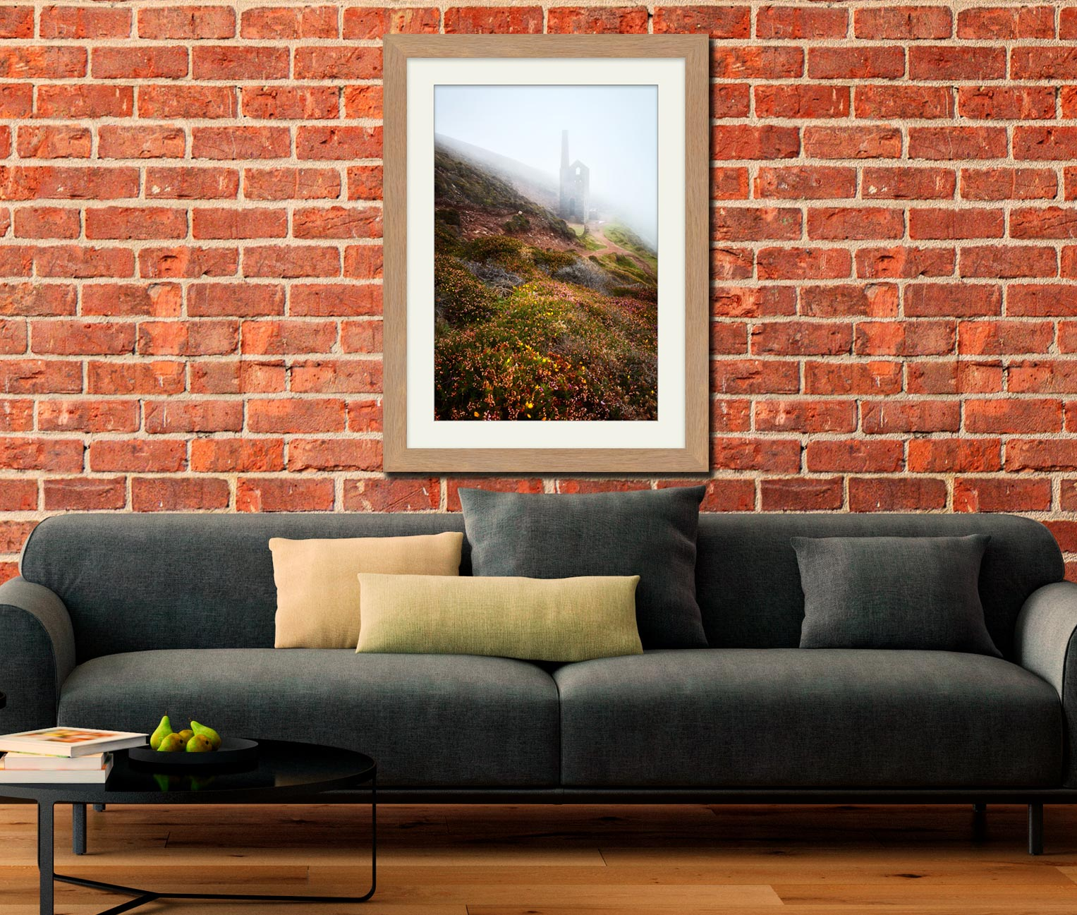 St Agnes Mine in the Mist - Framed Print with Mount on Wall