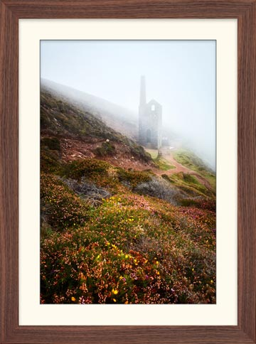 St Agnes Mine in the Mist - Framed Print with Mount