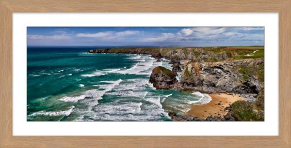 Summer Bedruthan Steps Panorama - Framed Print with Mount