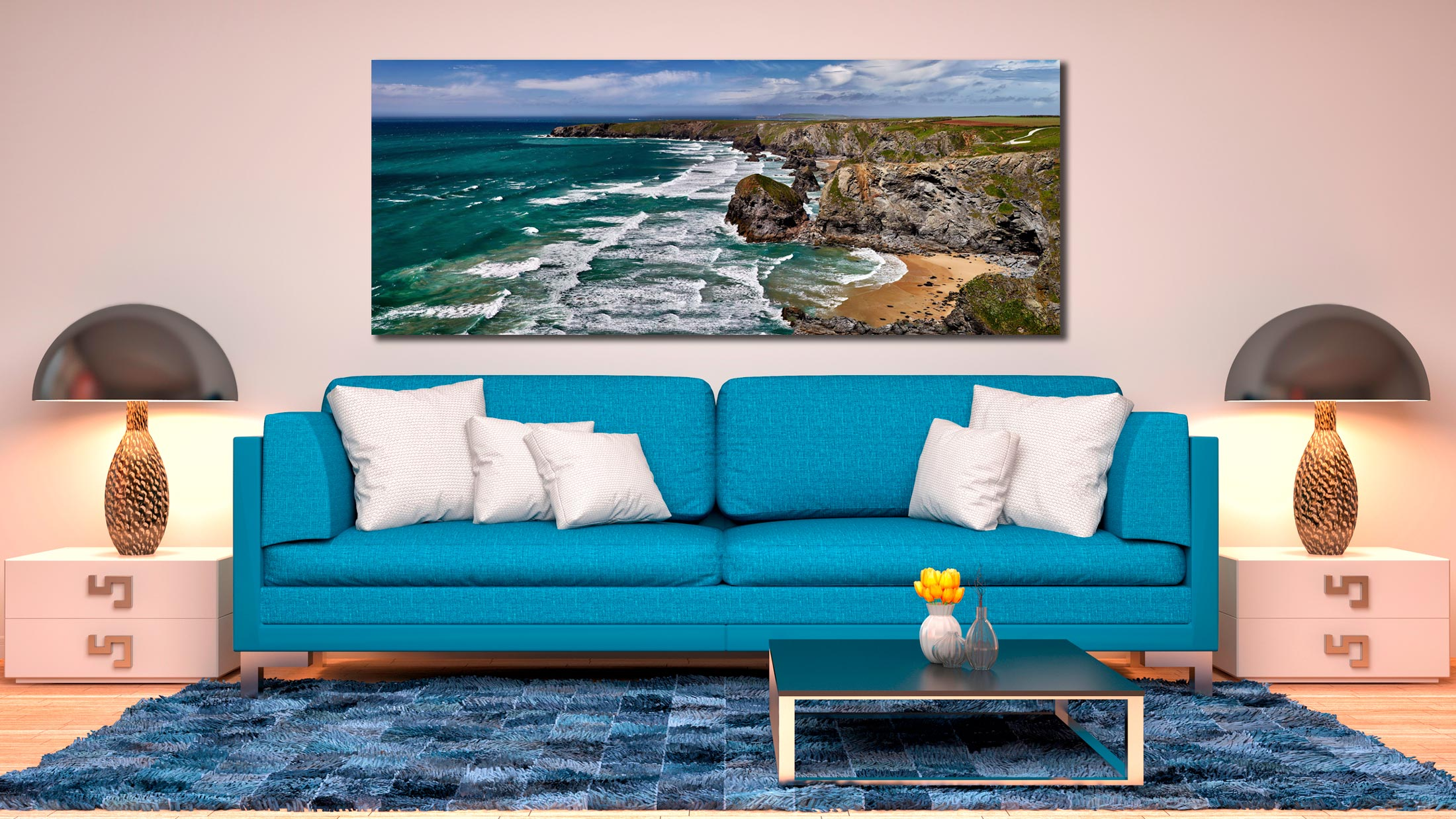 A beautiful summers day at Bedruthan Steps on the North coast of Cornwall - Print Aluminium Backing With Acrylic Glazing on Wall