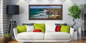A beautiful summers day at Bedruthan Steps on the North coast of Cornwall - Walnut floater frame with acrylic glazing on Wall