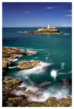 Green Ocean at Godrevy Point - Cornwall Print