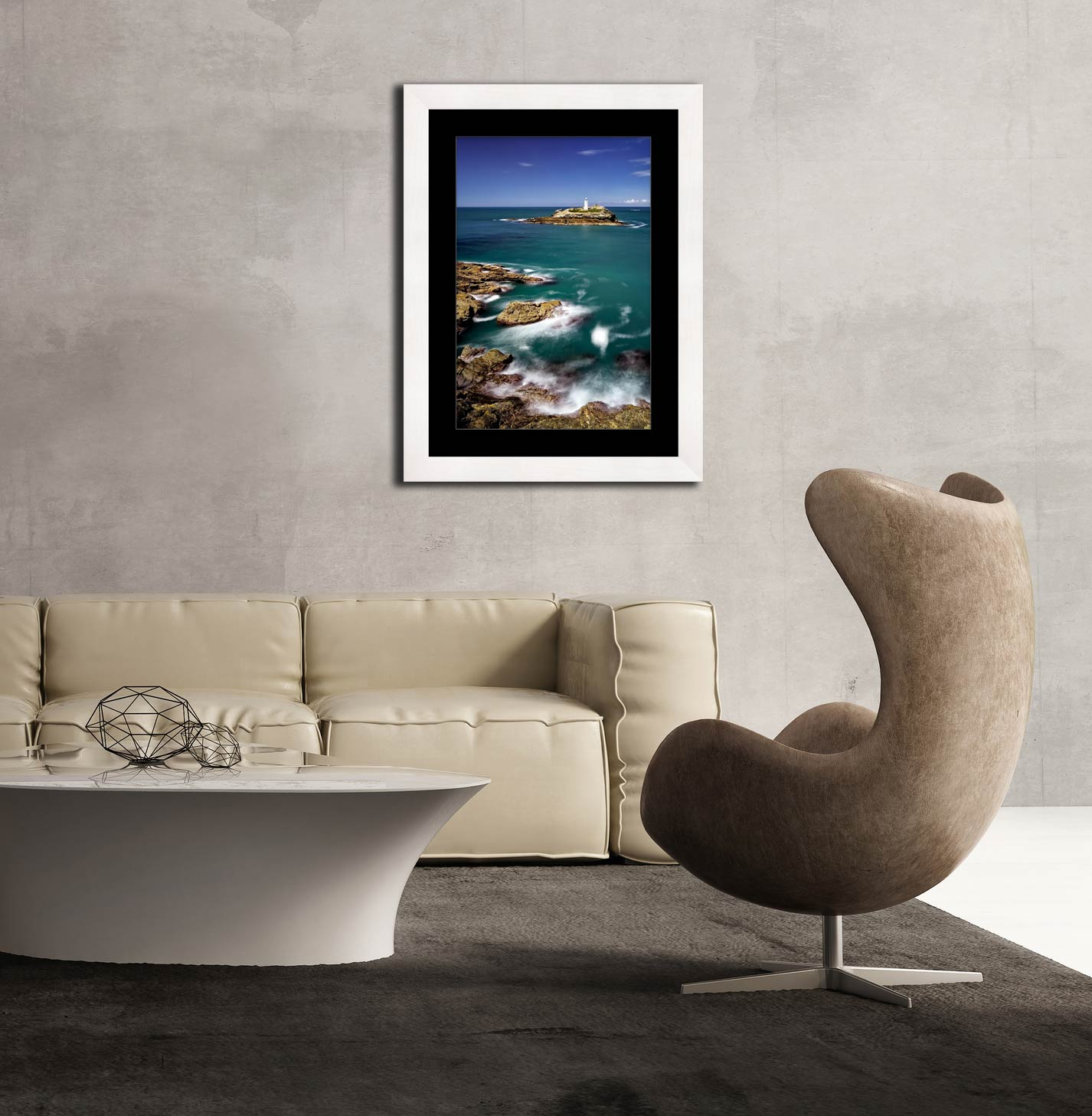 Green Ocean at Godrevy Point - Framed Print with Mount on Wall