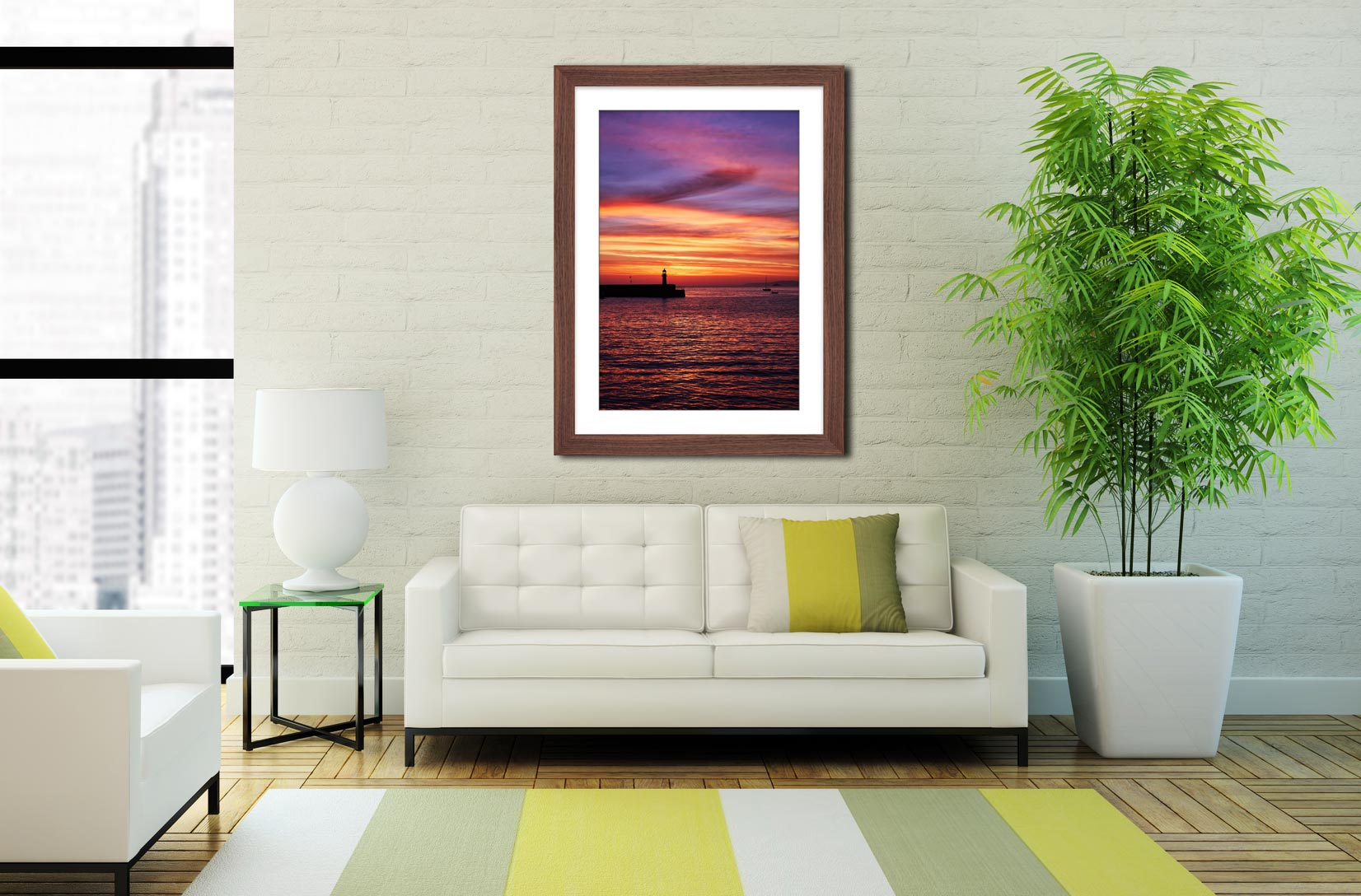 Dawn St Ives Lighthouse - Framed Print with Mount on Wall