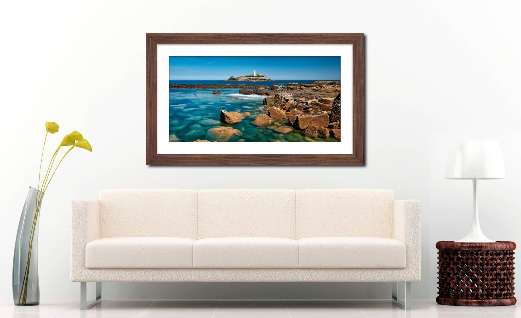 Calm Waters of Godrevy Point - Framed Print with Mount on Wall