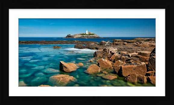 Calm Waters of Godrevy Point - Framed Print with Mount