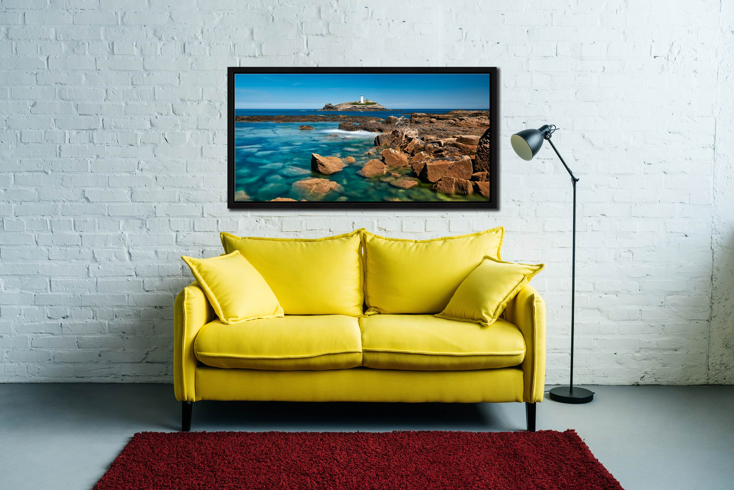 Calm Waters of Godrevy Point - Black oak floater frame with acrylic glazing on Wall