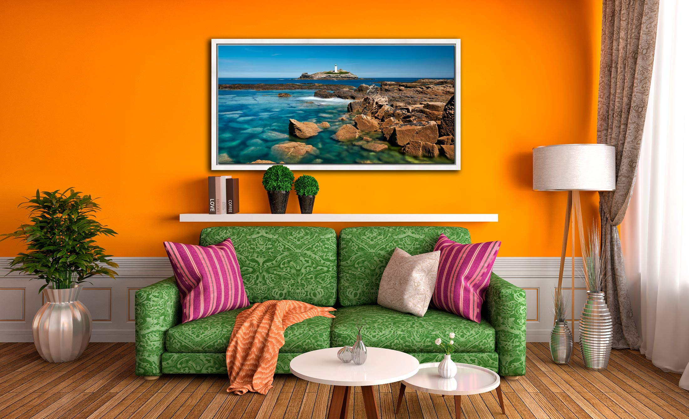 Calm Waters of Godrevy Point - White Maple floater frame with acrylic glazing on Wall