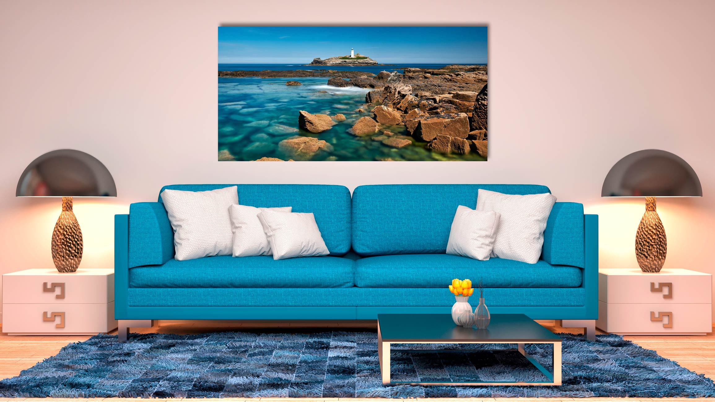 Calm Waters of Godrevy Point - Print Aluminium Backing With Acrylic Glazing on Wall