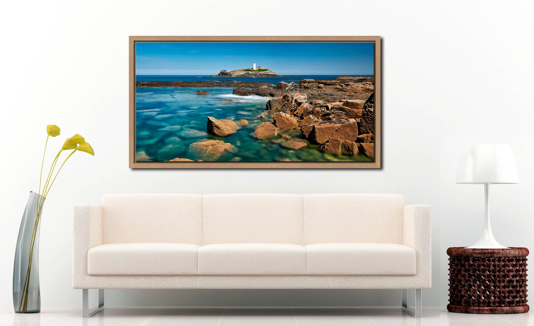 Calm Waters of Godrevy Point - Oak floater frame with acrylic glazing on Wall