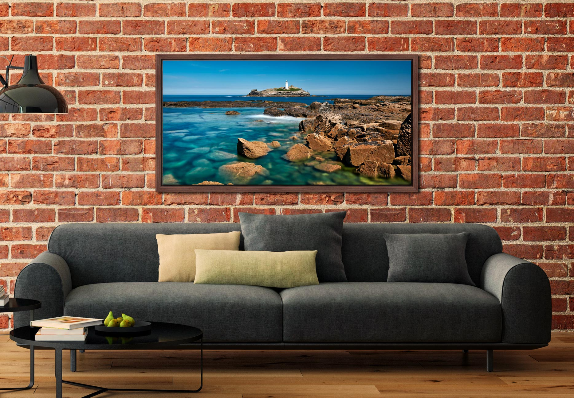 Calm Waters of Godrevy Point - Walnut floater frame with acrylic glazing on Wall
