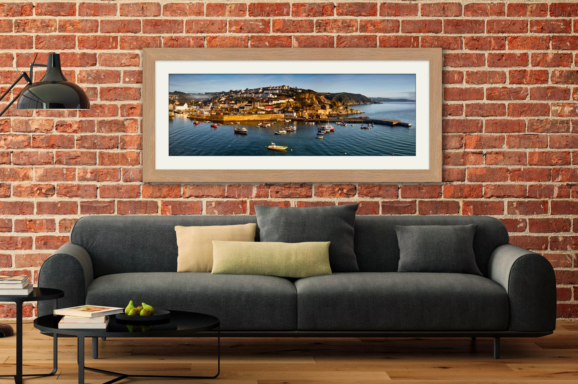 Mevagissy Harbour Panorama - Framed Print with Mount on Wall